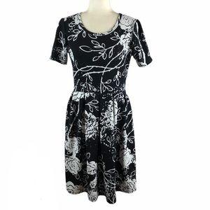 Lularoe Black & White Floral Amelia Dress